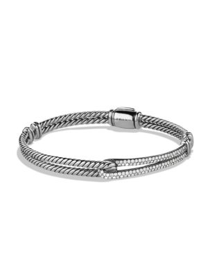 Petite Pavé Labyrinth Single-Loop Bracelet with Diamonds