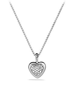 David Yurman - Diamond & Sterling Silver Heart Necklace