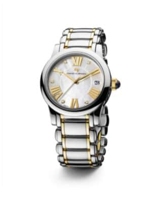 Classic 34MM Stainless Steel Quartz Watch with 18K Gold and Diamonds
