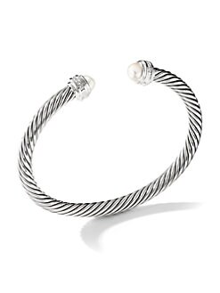 David Yurman - Pearl & Sterling Silver Bangle Bracelet