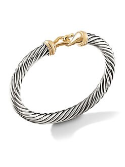 David Yurman - Sterling Silver & Radiant 14K Gold Hook Bangle Bracelet