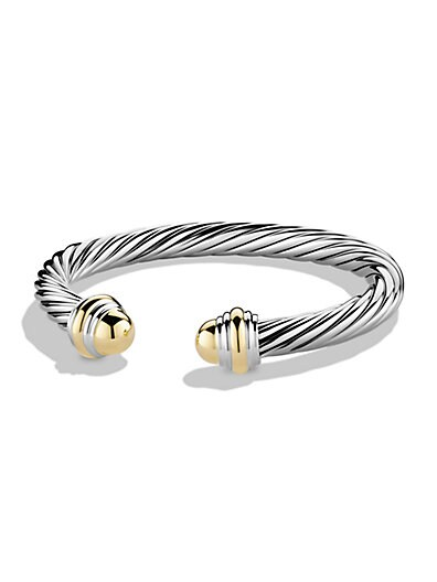 Sterling Silver & 14K Yellow Gold Cable Bracelet