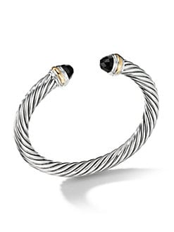 David Yurman - Blue Topaz, Sterling Silver & 14K Yellow Gold Cable Bracelet