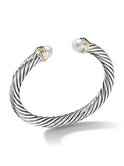 David Yurman - Freshwater Pearl, Sterling Silver & 14K Yellow Gold Bracelet