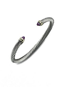 David Yurman - Amethyst, Sterling Silver & 14K Yellow Gold Bracelet
