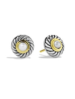 David Yurman - Pearl, Sterling Silver & 14K Gold Button Earrings