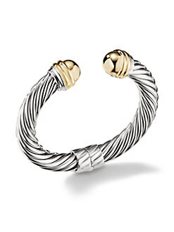 David Yurman - Sterling Silver & 14K Yellow Gold Cable Bracelet