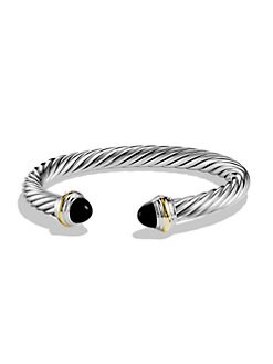 David Yurman - Black Onyx, Sterling Silver & 14K Yellow Gold Cable Bracelet