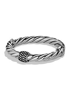David Yurman - Diamond & Sterling Silver Hinged Bangle Bracelet