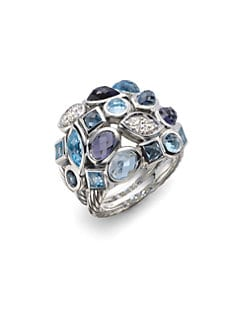 David Yurman - Diamond, Blue Topaz, London Blue Topaz & Sterling Silver Ring