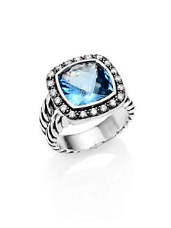David Yurman - Hampton Blue Topaz, Diamond, Sterling Silver Ring