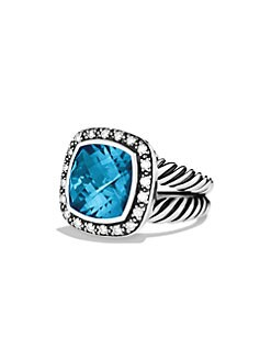 David Yurman - Hampton Blue Topaz, Diamond & Sterling Silver Ring