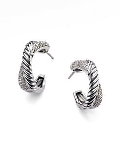 David Yurman - Diamond & Sterling Silver X Hoop Earrings/&frac34