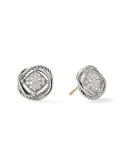 David Yurman - Pave Diamond & Sterling Silver Button Earrings