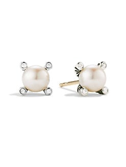 David Yurman - White Freshwater Pearl, Diamond & Sterling Silver Earrings