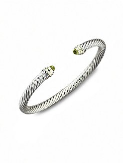 David Yurman - Peridot, Sterling Silver & 14K Yellow Gold Cable Bracelet