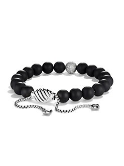 David Yurman - Black Onyx, Diamond & Sterling Silver Bracelet