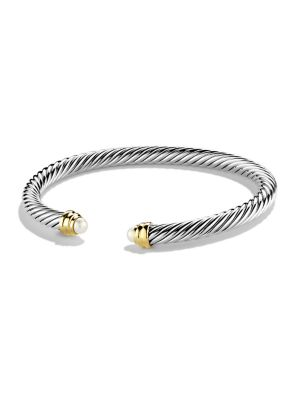 Pearl, Sterling Silver & 14K Gold Bangle Bracelet