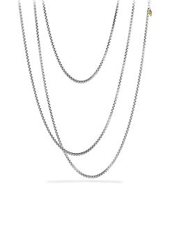 David Yurman - Sterling Silver Long Box Chain Necklace