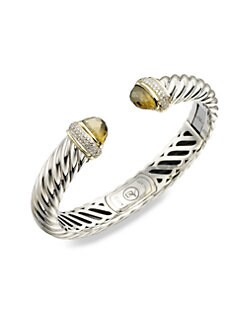 David Yurman - Olive Quartz, Diamond, Sterling Silver & 18K Yellow Gold Bracelet