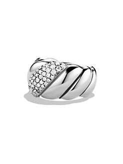 David Yurman - Diamond & Sterling Silver Cable Ring
