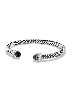 David Yurman - Black Onyx, Diamond & Sterling Silver Cuff Bracelet