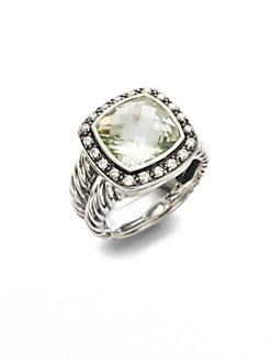 David Yurman - Prasiolite, Diamond Bezel & Sterling Silver Ring