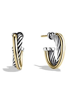 David Yurman - 18K Gold & Sterling Silver X-Small Hoop Earrings