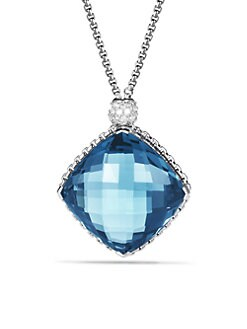 David Yurman - Blue Topaz, Diamond & Sterling Silver Necklace