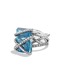 David Yurman - Diamond Accented London Blue Topaz Ring