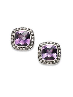 David Yurman - Amethyst & Diamond Sterling Silver Earrings