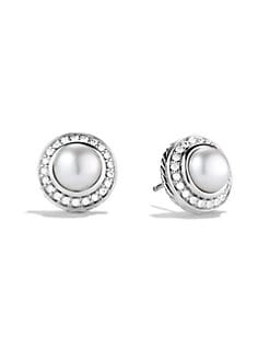 David Yurman - Pearl, Diamond & Sterling Silver Button Earrings