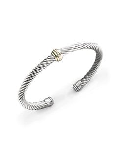 David Yurman - Sterling Silver & 14K Yellow Gold Bracelet