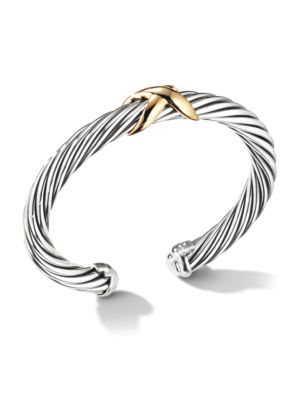 X Crossover Bracelet With 14K Yellow Gold