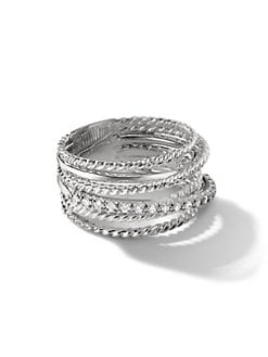 David Yurman - Diamond & Sterling Silver Multi-Row Ring