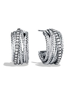 David Yurman - Sterling Silver & Diamond Hoop Earrings