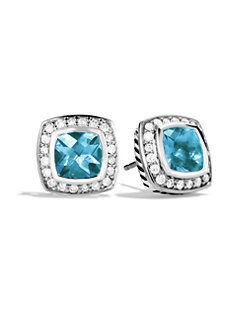 David Yurman - Blue Topaz, Diamond & Sterling Silver Button Earrings