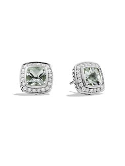 David Yurman - Diamond, Prasiolite & Sterling Silver Button Earrings