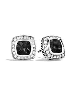 David Yurman - Black Onyx, Diamond & Sterling Silver Small Button Earrings