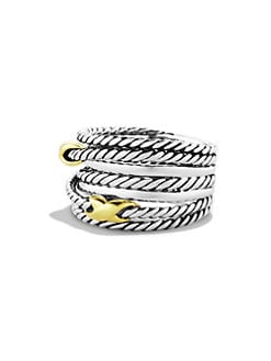 David Yurman - Sterling Silver & 18K Gold Double X Crossover Ring