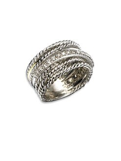 David Yurman - Diamond, 14K White Gold & Sterling Silver Crossover Ring