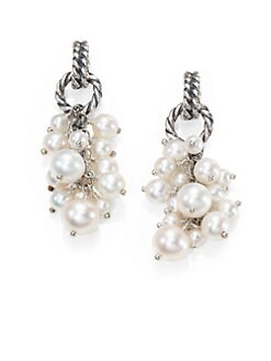 David Yurman - Pearl & Sterling Silver Cluster Drop Earrings