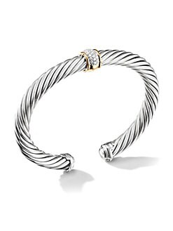 David Yurman - Diamond, Sterling Silver & 18K Yellow Gold Bracelet