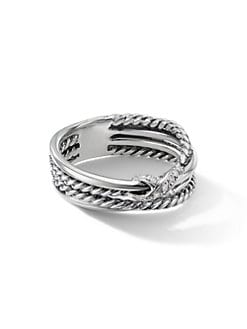 David Yurman - Diamond & Sterling Silver X Ring