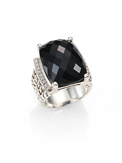 David Yurman - Black Onyx, Diamond & Sterling Silver Ring