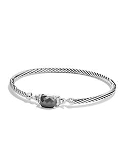 David Yurman - Garnet, Diamond & Sterling Silver Bangle Bracelet