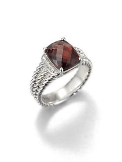David Yurman - Diamond, Gemstone and Sterling Silver Ring/Garnet
