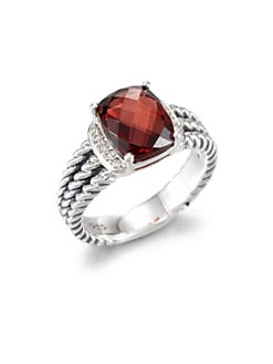 David Yurman - Garnet, Diamond & Sterling Silver Ring