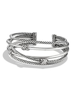 David Yurman - Diamond & Sterling Silver Multi-Row Cuff Bracelet