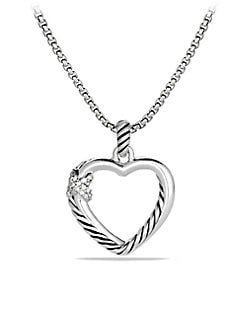 David Yurman - Sterling Silver & Diamond Heart Pendant Necklace